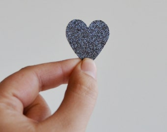 black glitter large heart stickers  (24 stickers)