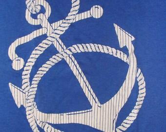 Vintage 80s Anchor Print Florida Blue T Shirt