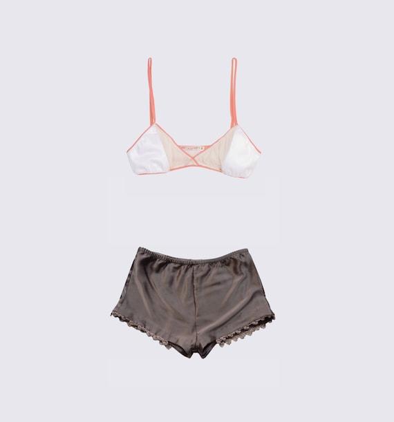 Set IIII- Silk X Bralette, Knit Trim Shorts- As Seen on DailyCandy Everywhere