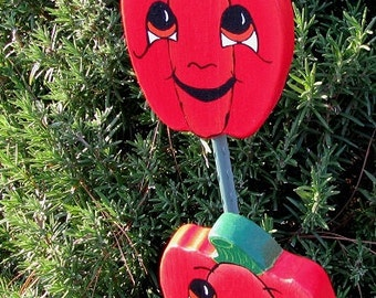 Red Bell Pepper - Double Sided Wooden Garden Personality Plant Marker -Gift for the gardener