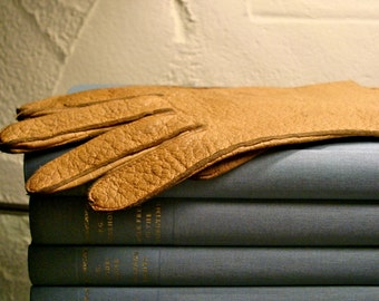 vintage leather gloves pair tan