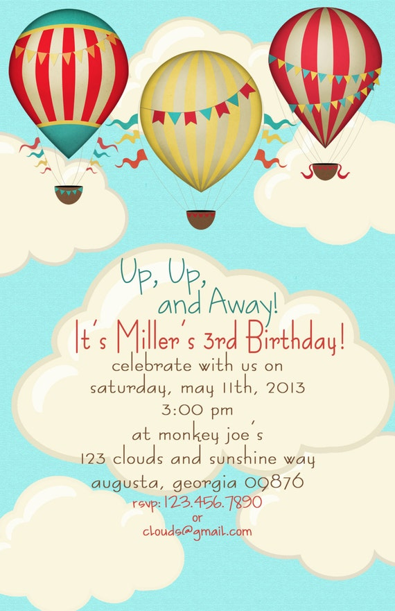 Hot Air Balloon Birthday Party Invitations set of 20 invites