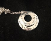 Mom Hand Stamped Necklace - Personalized Sterling Silver Washer Disc - TWO DISCS - Mother's Day