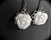 Bridal jewelry - White Rose - Cabochon earrings - Sterling Silver - French ear wires - Bridesmaids- flower girl -