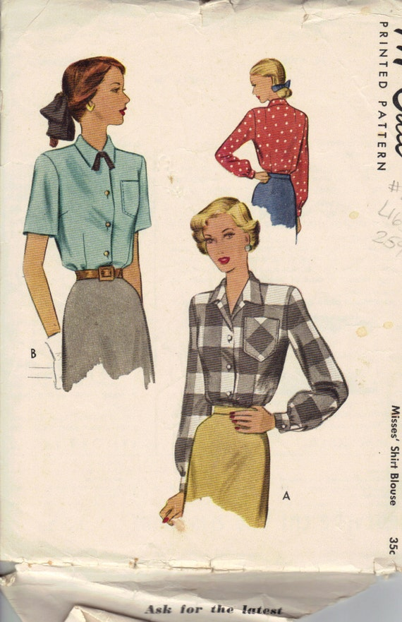 Vintage 1940's Women's Blouse Pattern, 40s McCall 7277 Sewing Pattern, Size 16
