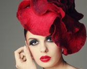 Scarlet Rose fascinator hat with merino wool, silk fibers and chiffon silk