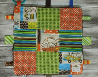 "Baby Ribbon Blanket Tag Lovey ""RIBbee"" Boutique Patchwork Sensory  Toy - Soft Minky Fleece Backing - vroom"