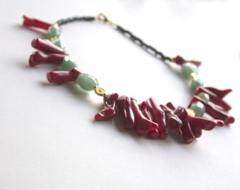 Handmade Asian-inspired necklace, fringe necklace, statement necklace, green aventurine, gold plate, bamboo coral sticks, unique necklace