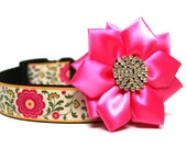 Dog Collar Flower Satin and Rhinestone Dog Collar Flower Add-On
