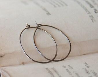 Oxidized Sterling Silver Hoop Earrings Simple Minimalist Silver Oval Thin Wire Earrings |EC3-12