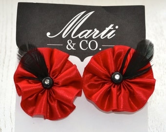 Black and Red Shoe Clips - Bridal Accessory Red and Black Shoe Clips - Red and Black Bridal Party Accessory