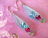 Butterfly Earrings, Butterfly Jewelry, Swarovski Earrings, Lucite Earrings, Pink Earrings, Blue Earrings, Chain Earrings, Summer Earrings
