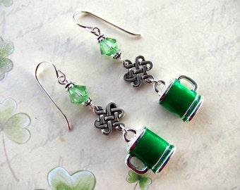 Green Beer Earrings, St. Patrick's Day Earrings, Green Earrings, Irish Earrings Celtic Earrings, Beer Earrings, St. Patrick's Day Jewelry