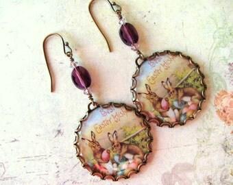 Easter Bunny Earrings, Vintage Easter, Swarovski Earrings, Easter Earrings, Holiday Earrings, Purple Earring, Easter Jewelry, Bunny Earrings
