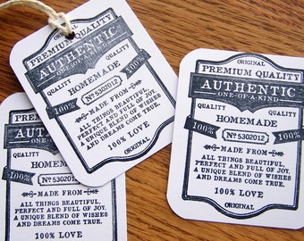 tags, original handmade, handmade item tag, handmade seller tag - white with black, set of 12