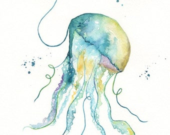 No. 1 Jelly Fishl  / Teal / Aqua / Yellow Ochre / Watercolor