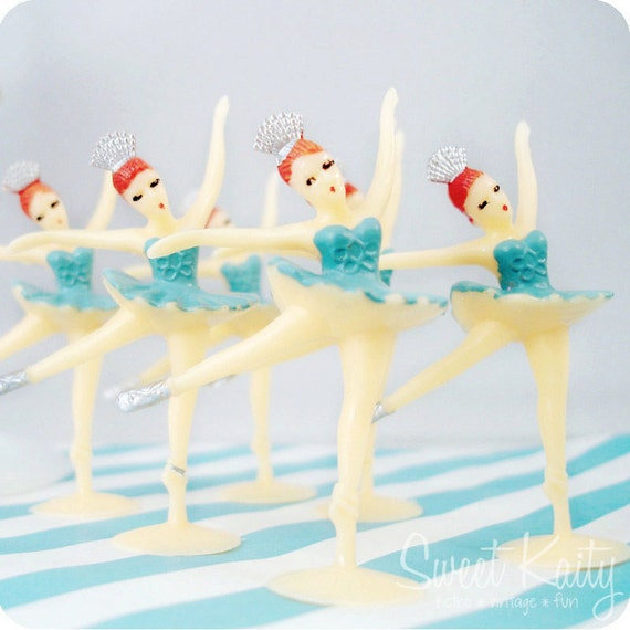 12 Blue Ballerina Cupcake Toppers - Sweet Ballerina Cake Toppers - Party Supplies