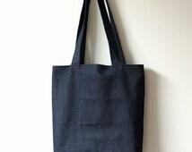 Dark Blue Denim Tote Bag