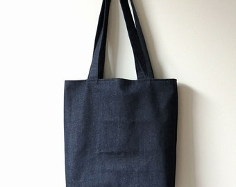 Dark Blue Denim Tote Bag