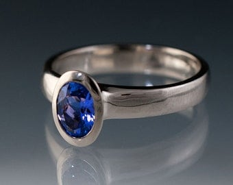 Oval Chatham Blue Sapphire Bezel Solitaire Engagement Ring in Palladium, Lab Created Sapphire Ring