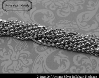 SOJ-059: Set of 10 - 20 inch 2.4mm Antique Silver Ballchain Necklaces - pendant supplies, antique silver chain, ball chain, grunge