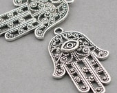 Hamsa Charms Hamsa Hand Antique Silver 4pcs pendant beads 28X42mm CM0070S