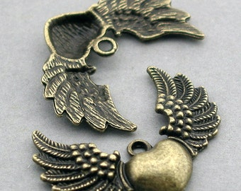 Heart Wing Charms Flying Heart Antique Bronze 4pcs pendant beads 26X34mm CM0066B