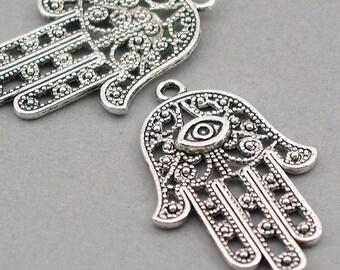 Hamsa Charms Hamsa Hand Antique Silver Antique Bronze 4pcs pendant beads 28X42mm CM0070S CM0070B