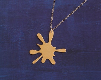 Gold Ink Splotch Necklace , Golden Stain necklace , Rorschach Test , Abstraction inspired