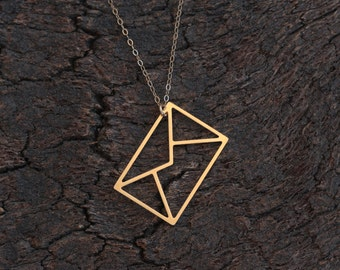 Gold Envelope Necklace , I love You Letter , Minimal Everyday Necklace , Letter Jewelry, Origami Necklace , Origami Jewelry ,Girlfriend Gift