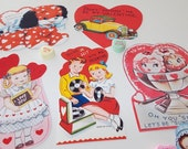 Valentine Retro Cards Gift Tags Scrapbook Valentine CutOuts Bookmarkers Party Favors Vintage Inspired Set of 16 RETRO COLLECTION SET 2