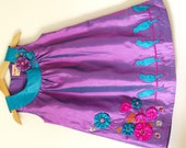 NEW-Couture satin dress 'Birds On A Wire'-2T 3T 4T girls 5 6 -Purple colorway-handmade flowers-flower girl dress