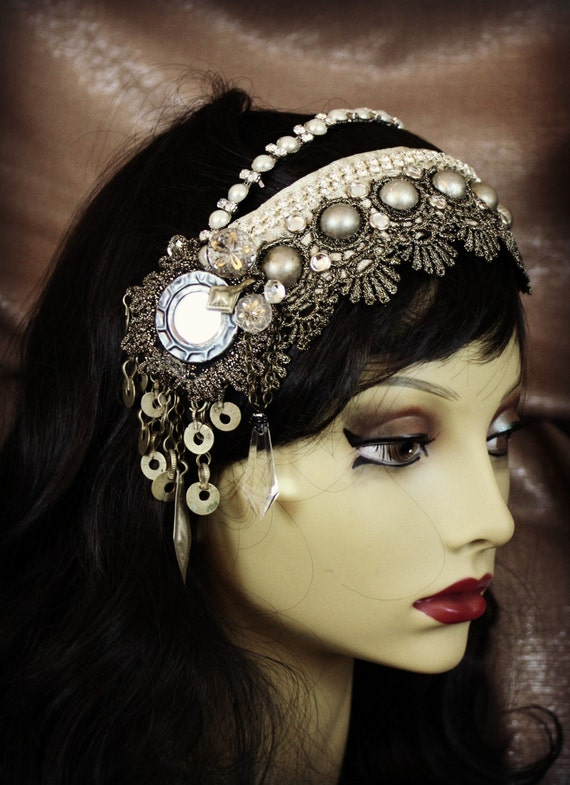 Tribal Fusion Headdress Pearly Shi Shas Antique Gold Lace