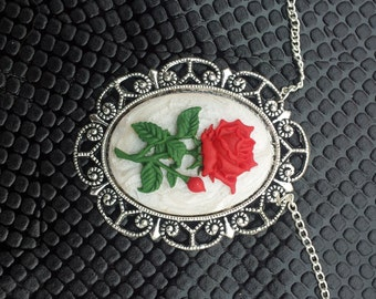 Handmade Red Rose Cameo Pendant on a Silver Chain Gothic Steampunk Emo Punk