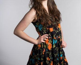 Upcycled vintage black orange blue womens floral summer spring dress size medium