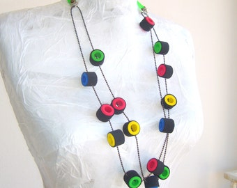 Loop necklace colorfull  / Green red black blue yellow / Neon colors / long loop necklace