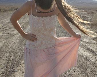 Pretty in Pink - Amazing Drop Waist Satin Lace 80s Prom Dress, Jessica McClintock, Large