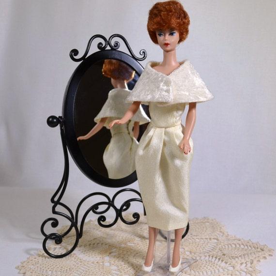 Retro Fifties Barbie Creme Sheath Wiggle Dress and Stole Handmade
