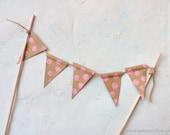 Pink Polka Dots Cake Topper Bunting Brown Kraft Paper Pennant Banner