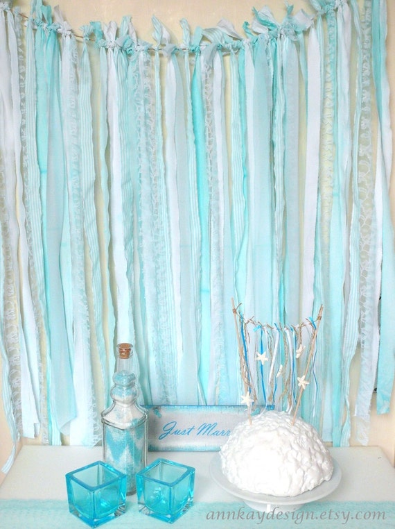 Fabric Garland Rag Streamer Backdrop with Mint and Striped