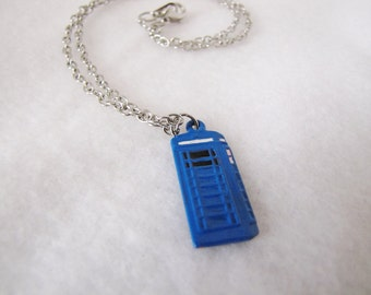 Doctor Who Hand Painted Tardis Necklace - Twelfth  Doctor - Police Box - Cosplay - Costume - Christmas in July - Summer - Graduation Gift