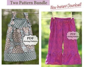 Apron Knot Dress and Ruffle Bottom Pants PDF Two Pattern Bundle