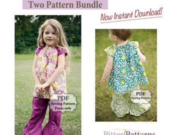 Flutter Top & Dress and Ruffle Bottom Pants PDF Two Pattern Bundle