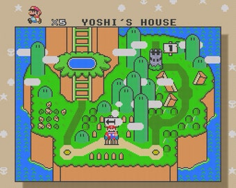 Super Mario World Yoshi Island level cross stitch pattern