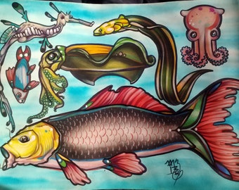 fish tattoo flash, dumbo squid, eel, weedy sea dragon, carp, cuttlefish: tattoo art, fish tattoo, coy fish, koi fish