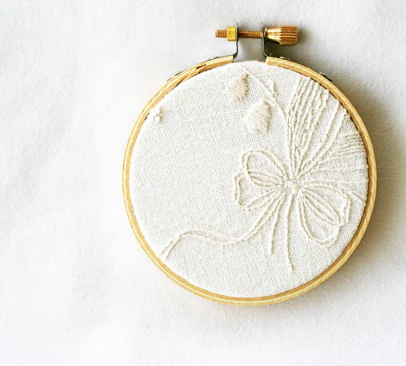 Cream embroidery hoop art upcycled vintage by