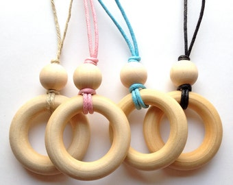 Simple Natural Wood Teething Necklace / Nursing Necklace on Organic Cotton or Hemp Necklace (Adjustable)