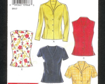 New Look  6598 Top, Vest, Or Jacket, Misses' Sizes 8 to18 UNCUT