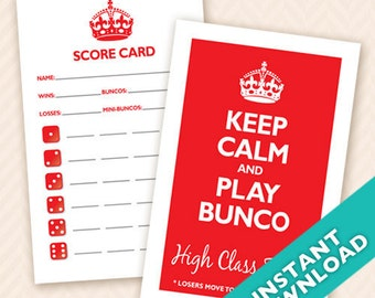 Printable Bunco Scorecard and Table Marker Set - Keep Calm and Play Bunco (a.k.a. Bunko, score card, score sheet)