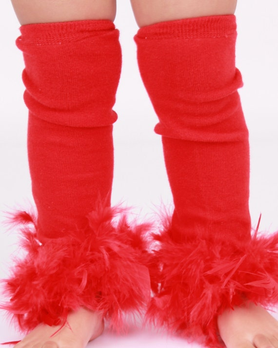 MADE TO ORDER: Leg Warmers - Red Feather - Paradise Parrot - Scarlett Macaw Bird Costume Accessory - One Size